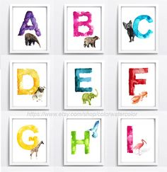 Watercolor Alphabet Set of 26 Art Prints Baby by ColorWatercolor