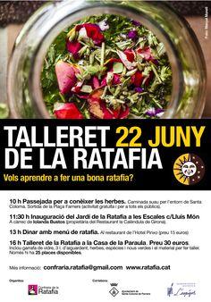 Caminada per conèixer les herbes, inauguració del Jardí de la Ratafia, Menú de ratafia i Taller de fer una bona Ratafia +info www.ratafia.cat