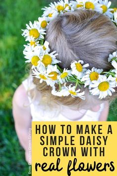 How to make a braided daisy chain flower crown with just flowers! The simple step by step tutorial teaches you easy ways to make flower crowns with daisies, dandelions and other weeds and wildflowers. It's perfect for making flower crown headbands or flower bracelets or necklaces. #daisychain #flowercrown #flowercrowntutorial #naturecrafts Flower Crown Tutorial, Diy Flower Crown, Flower Crowns, Real Flowers, Summer Flowers, Wild Flowers, Daisy Crown, Easy Crafts, Crafts For Kids