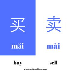 The Chinese characters 买 and 卖 look similar, and can easily be mixed up. Learn some commonly used examples to learn how to recognize them. Basic Chinese, How To Speak Chinese, Chinese Food, Chinese Lessons, French Lessons, Spanish Lessons, Chinese Language, German Language, Spanish Language