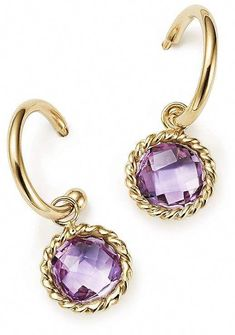 ee378a8a3 Bloomingdale's Amethyst Drop Hoop Earrings in 14K Yellow Gold - 100%  Exclusive #hoopearrings Diamond