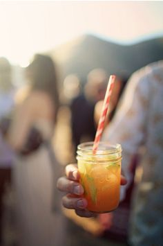 Summer drinks served in mason jars with stripy straws. I never tire of looking at these drinks.