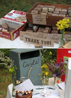 Wooden crates can hold favors or cards. Or, if you get one large enough, gifts. #wood #crates #boxes #rustic #wedding