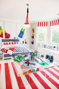 Kendra Wilkinson's Son's Lego Room - we love this modern, colorful big boy room!