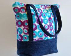 Azul del dril de algodón Jean bolso bolso por SuzqDunaginDesigns