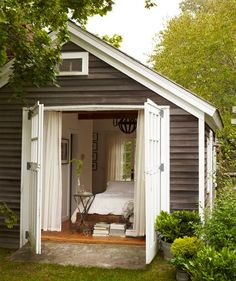 A shed turned Guest suite. Obsessed with this idea!