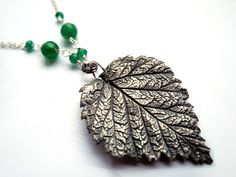 Leaf silver NECKLACE hand made natural by NurrgulaJewellery, $115.00