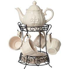 Ivory Fleur-de-Lis 10-Piece Porcelain Teapot Set - #X7184 ($60) ❤ liked on Polyvore