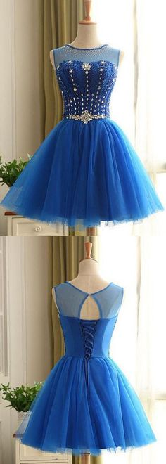 Short Prom Dresses, Blue Prom Dresses, Royal Blue Prom Dresses, Lace Prom Dresses, Beautiful Prom Dresses, Short Homecoming Dresses, Prom Dresses Lace, Prom dresses Sale, Blue Lace Prom dresses, Blue Homecoming Dresses, Royal Blue dresses, Lace Up Prom Dresses, Rhinestone Party Dresses, Round Prom Dresses