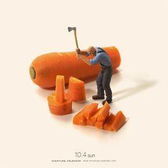 Der japanische Künstler Tatsuya Tanaka kreiert Alltagsszenen mit Gebrauchsgegenständen und Miniaturfigürchen.