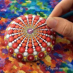 Elspeth McLean putting the finishing dot on a mandala stone Dot Art Painting, Pebble Painting, Pebble Art, Stone Painting, Mandala Art, Mandalas Painting, Mandala Painted Rocks, Mandala Rocks, Painted Stones