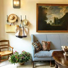 Habitually Chic® » Chic in Avignon: Le Mas des Poiriers ~ fabulous check settee!  | decorated by S.B. Long Interiors using traditional Pierre Frey fabrics