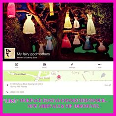 Follow us on Face Book... Like our Page & stay connected. View all our new arrivals & get VIP. discounts. My Fairy Godmother's located in Spring Hill, Florida.  352-340-5945