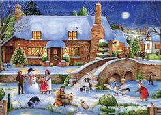"Idyllic Christmas - 1000 piece Christmas jigsaw puzzle. Finished size: 27"" x 20"". Released January 2013.   	Cut from high quality recycle green board, and packaged within a shrink-wrapped box. 	Strong pieces that won't break. 	Grained paper ensures a glare-free picture. 	Ravensburger's cutting perfection results in precision interlocking."