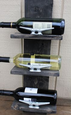 Small Wine rack with boat cleats - Handcrafted nautical wooden wine rack