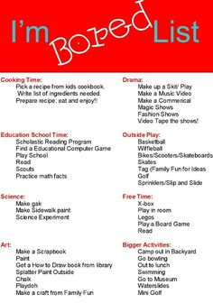 Make kids an I'm Bored list full of fun activities for summer break Bored Jar, Im Bored, Bored Kids, Babysitting Activities, Fun Activities, Summer Activities For Teens, Babysitting Boys, Babysitting Flyers, Games To Play With Kids