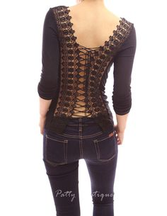 Corset Embroidered Back Long Sleeve Party Clubwear - Patty Boutik