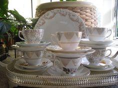 vintage bone china tea cups and saucer trio tea set mix & match Floral tea set Vintage Tea, Vintage Shops, Bone China Tea Cups, Tea Cup Saucer, Mix Match, Tea Set, Homes, Tableware, Floral