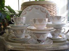 vintage bone china tea cups and saucer trio tea set mix & match Floral tea set
