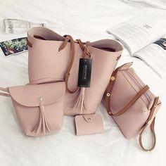 f1e25ab080 4pcs Set Fashion Women Composite handbags