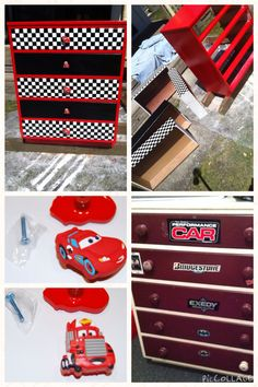 Cars themed, lightening McQueen, drawers, kids, DIY