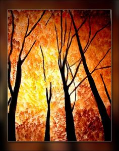 Autumn Trees Watercolor Painting by Pam Houle