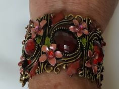 Hollycraft Vintage Red, Pink, and Green Flower Cuff by RecyclingGems on Etsy