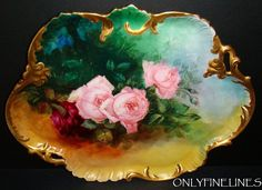 """AWESOME - D Limoges FRANCE - 16 1/2"""" - Massive Tray - Meticulously Hand Painted - Romantic Victorian Bouquet - Pink Tea ROSES - Coin GOLD Accents - Circa 1900 - Hand Painted FRENCH Antique Heirloom"""