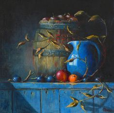 Barrel of Apples, An oil painting by Irish still life artist Chris Quinlan. An oil painting on linen panel of a barrel of apples with blue jug and fruit, completed April 21 Still Life Artists, Still Life Oil Painting, Painting Inspiration, Be Still, Gallery, Frame, Handmade Gifts, Artwork, Etsy