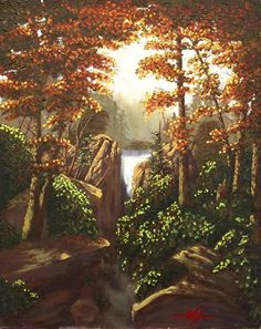 Autumn Falls by Curt Ives Oil ~ 20 x 16 Autumn Falls reminds of a place I used to visit up in the canyons near Farmington Utah. There was a waterfall that we could hike to and swim. Those memories inspired this painting.