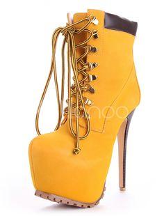Amarillo de almendra Toe Stiletto Heel Monogram Suede mitad de la  pantorrilla botas para mujer de la alta plataforma sexy botas a media  pierna(China ... 5b0e998568c3