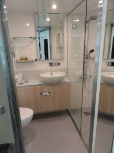 The bathroom on Scenic Crystal, a brand new river ship from Scenic Tours and Cruises. This luxury line includes everything you could want in your vacation. Contact us and we'll assist you with your river cruise free of charge. Not all river cruise lines are equal! pete@rivercruiseguru.com