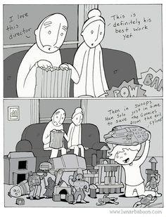 lunarbaboon - Comics - so good Phd Comics, Life Comics, Funny Cartoons, Funny Comics, Funny Memes, Funny Cute, Hilarious, Rare Baby Names, Happy Stories