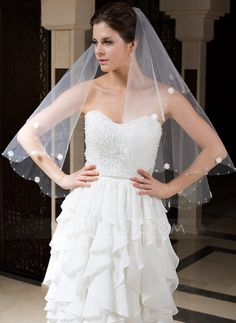 Wedding Veils - $7.99 - One-tier Fingertip Bridal Veils With Cut Edge/Beaded Edge (006035773) http://jjshouse.com/One-Tier-Fingertip-Bridal-Veils-With-Cut-Edge-Beaded-Edge-006035773-g35773