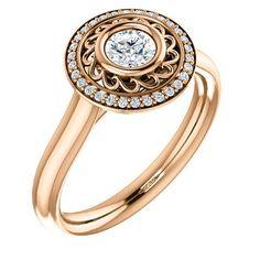 0.25 Ct Round Ring 14k Rose Gold
