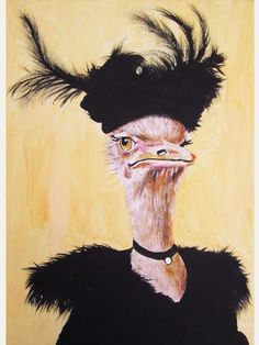 Items similar to Digital Print Illustration Print Art Poster Acrylic Painting Kids Decor Drawing Illustration Gift : Classy Ostrich on Etsy Animal Paintings, Acrylic Paintings, Original Paintings, Animal Art Prints, Color Script, Kunst Poster, Poster Drawing, Motifs Animal, Popular Art