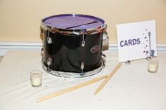 Totally going to do something similar to this and use a drum for our card box! Just thought of the idea and there were even examples on pinterest!