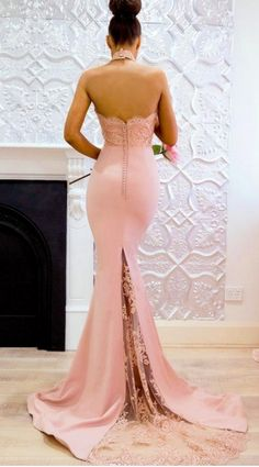 Pink Long High Neck Mermaid Lace Evening Dresses Open Back Applique Sweep Train Maid Of Honor Party on Luulla