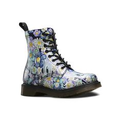Dr. Martens Pascal 8 ($150) ❤ liked on Polyvore featuring shoes, boots, ankle booties, purple paint slick backhand, short boots, sport boots, dr martens boots, leather booties et purple booties