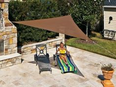 Coolaroo Ready-To-Hang Triangle Shade Sail Canopy, Pebble, 13 Feet Triangle, 2015 Amazon Top Rated Umbrellas, Canopies & Shade #Lawn&Patio