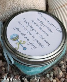 Body Scrub Baby Shower Favor  2 C. epson salt 3 TBS. baby oil 8-10 drops essential oil Food coloring  Adorable!