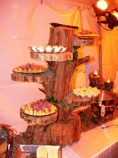 Unique buffet table presentation for an outdoor setting - old fallen cedar tree recycled
