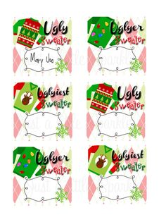 Ugly Sweater Voting Ballots-DIY-YOU PRINT, Winner Ribbons, Contest form, Ugly Sweater Contest, Christmas Voting, Ugly Christmas Invitations