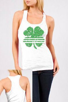 St. Patrick's Day Striped Shamrock Clover Vintage Juniors Ribbed Tank Top #holiday #stpattysday #stpatricksday