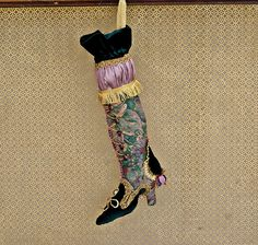 Christmas Stockings, Christmas Decorations, Victorian Christmas Stocking, Christmas Decor, Christmas Mantle, Handmade Xmas Stockings Velvet An absolutely stunning handmade, stuffed Victorian, ladies boot style, Christmas Stocking, made from upholstery floral patterned fabric in