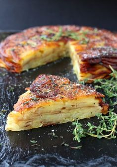 Brown Butter and Thyme Potato Torte - layers of potato and fresh thyme with a sweet balsamic glaze.