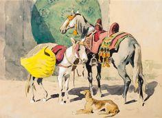 Cheval, âne et sloughi à la fontaine von Edouard Edmond Doigneau
