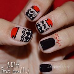 Cool Tribal Nail Art Designs, Tribal nails are created with curving and angular lines. This type of nail art incorporates bold patterns, colors and shapes. Tribal nail art worked t. Fancy Nails, Love Nails, How To Do Nails, Pretty Nails, Nail Art Designs, Nail Design, Swirl Nail Art, Gel Nails, Nail Polish