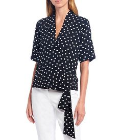 Dotted V-Neck Short Sleeve Wrap Tie Top #Sponsored #Short, #Ad, #Neck, #Dotted Wrap Tie Top, Korean Fashion Casual, Dillards, V Neck, Black And White, Closure, Clothes, Shopping, Amp