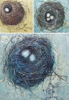 3 nest encaustic paintings- Susan Wallis Top Left: Sanctuary I (12×12), Top Right: Room for Three (12×12), Below: Blue Hideaway (12×12)